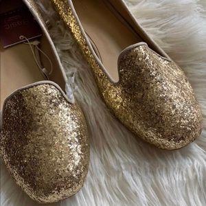 Zara gold glitter loafers